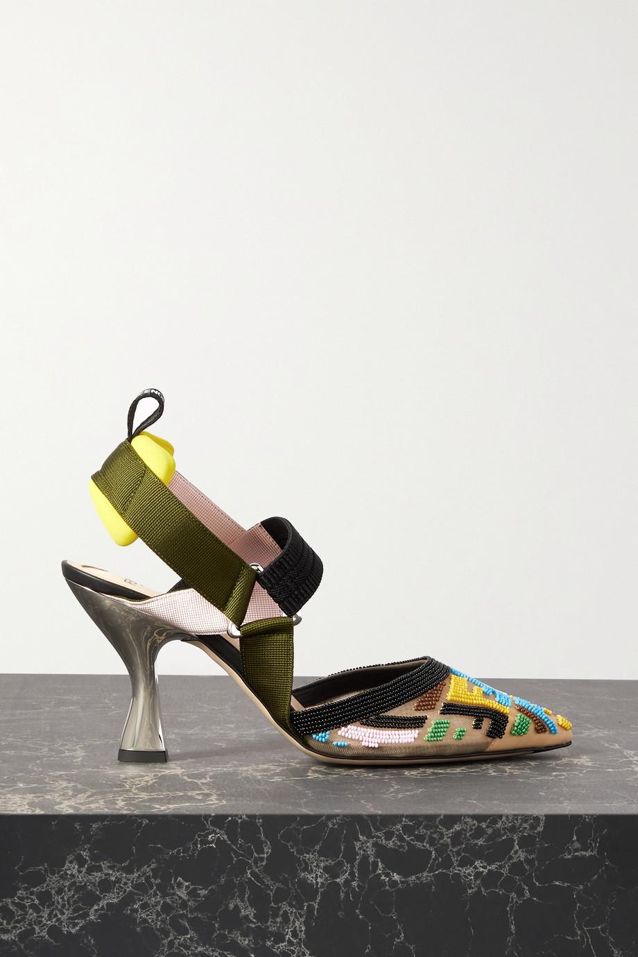 Fendi Colibri bead-embellished grosgrain and mesh slingback pumps