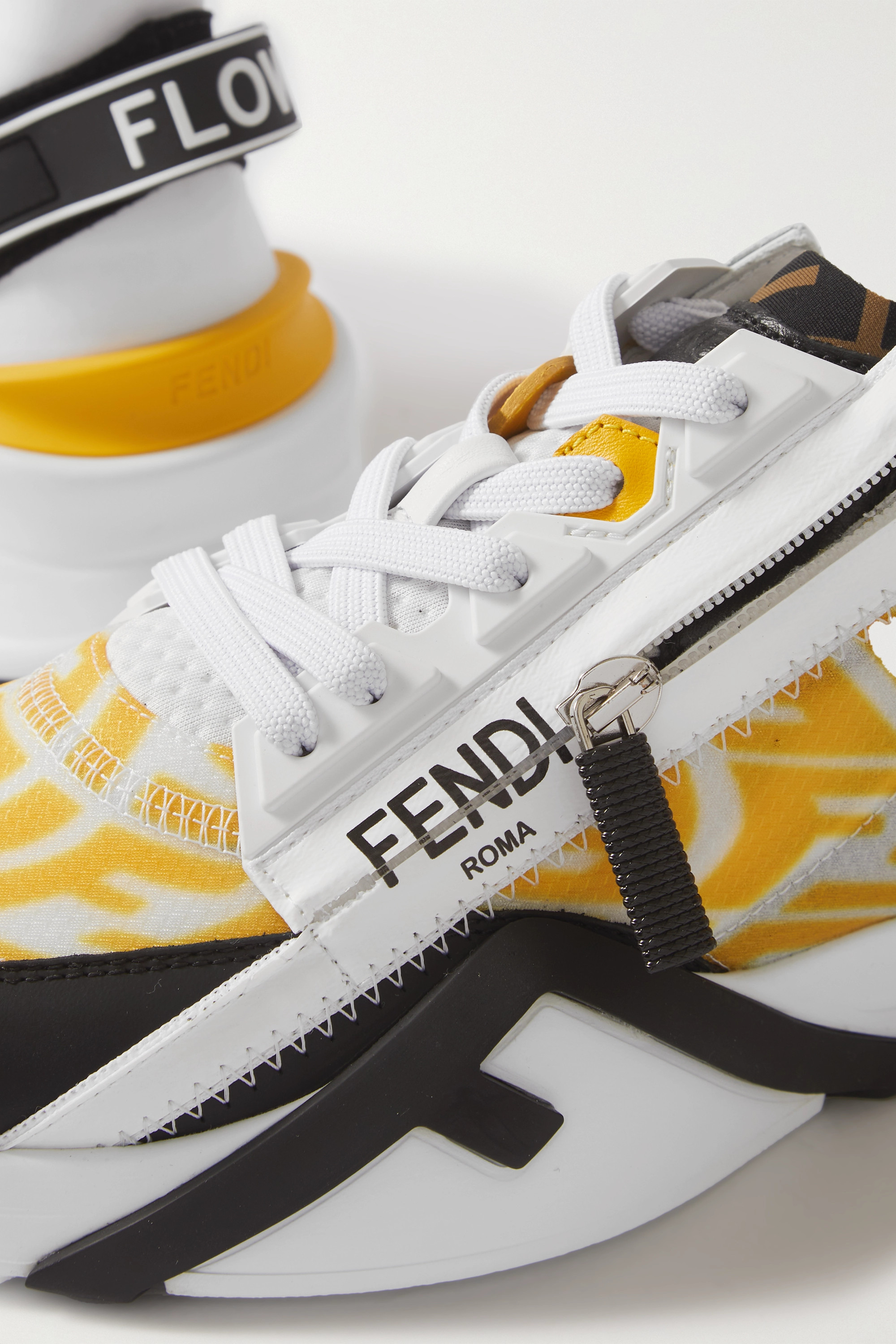 Fendi Printed rubber and neoprene-trimmed leather, suede and nylon sneakers