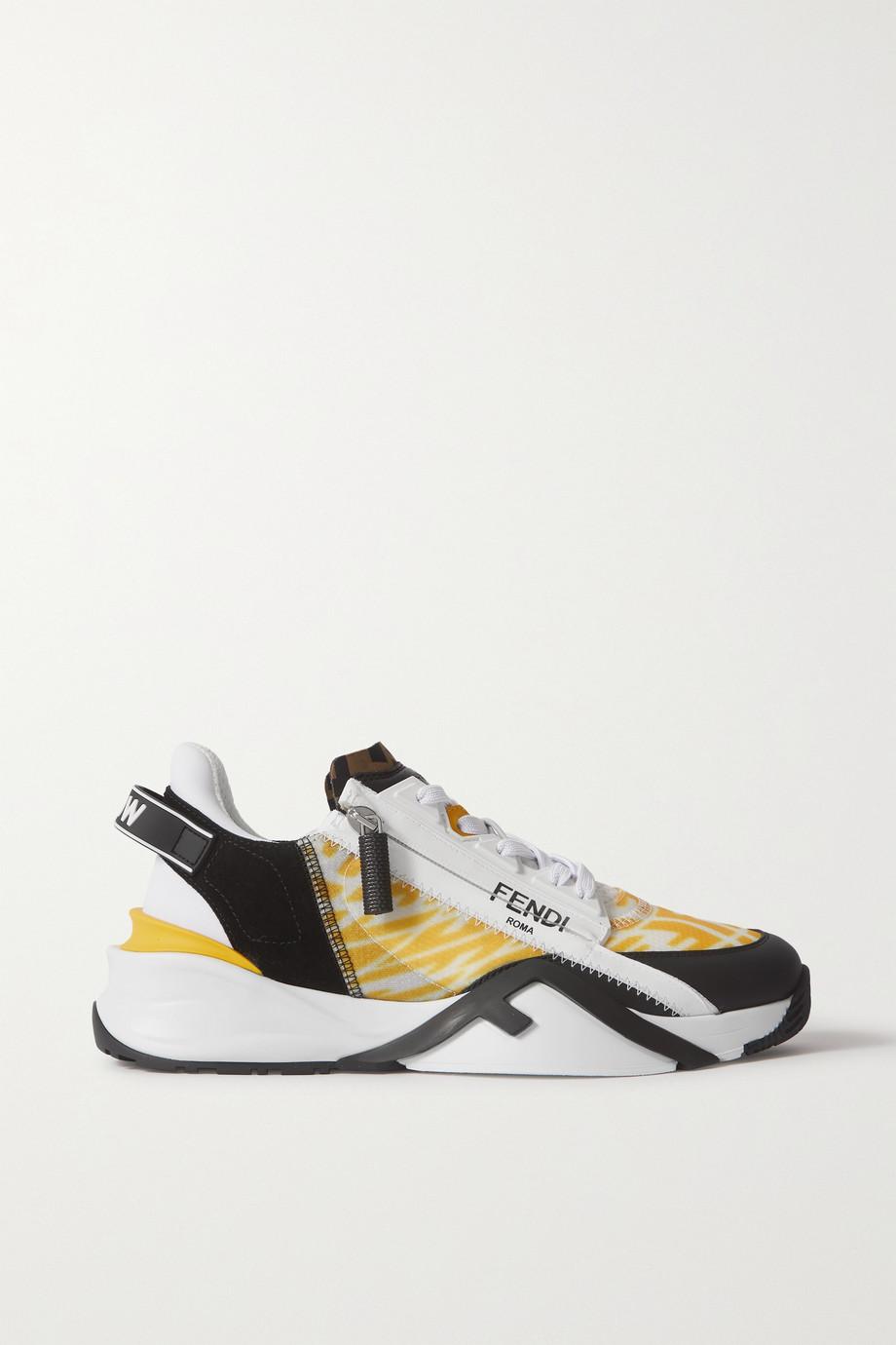 Fendi Sneakers aus Leder, Veloursleder und Nylon mit Print und Besätzen aus Gummi und Neopren