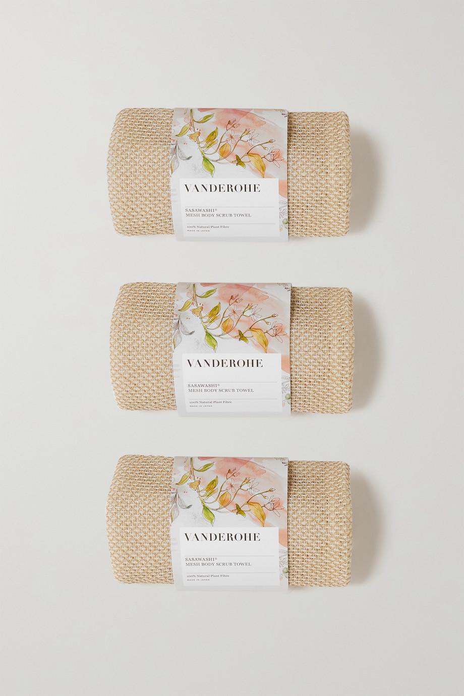 Vanderohe Sasawashi Mesh Body Scrub Towels – Set aus drei Peelingtüchern aus Netzmaterial für den Körper