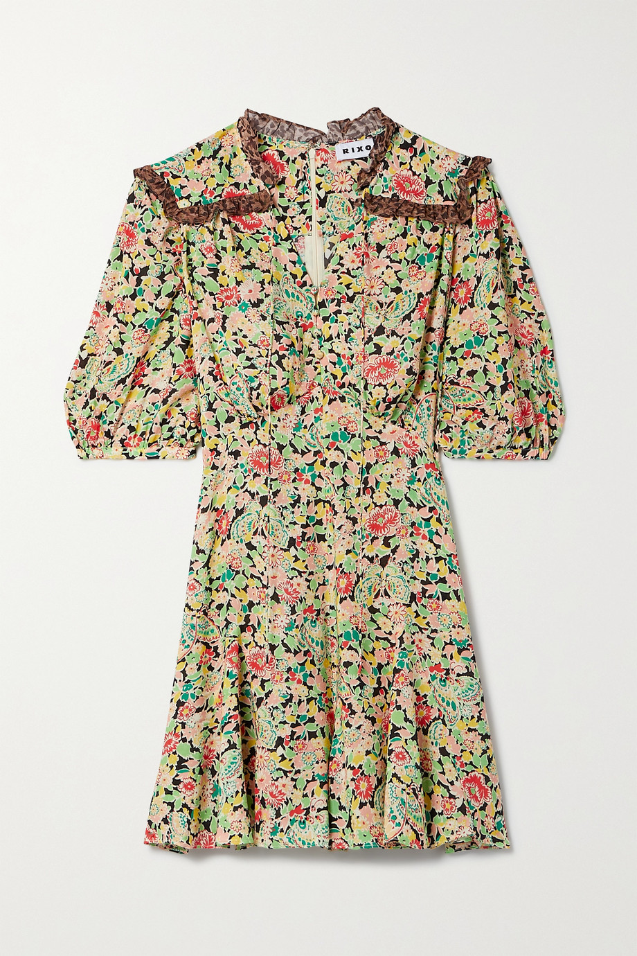 RIXO Rina crepe-trimmed printed voile playsuit