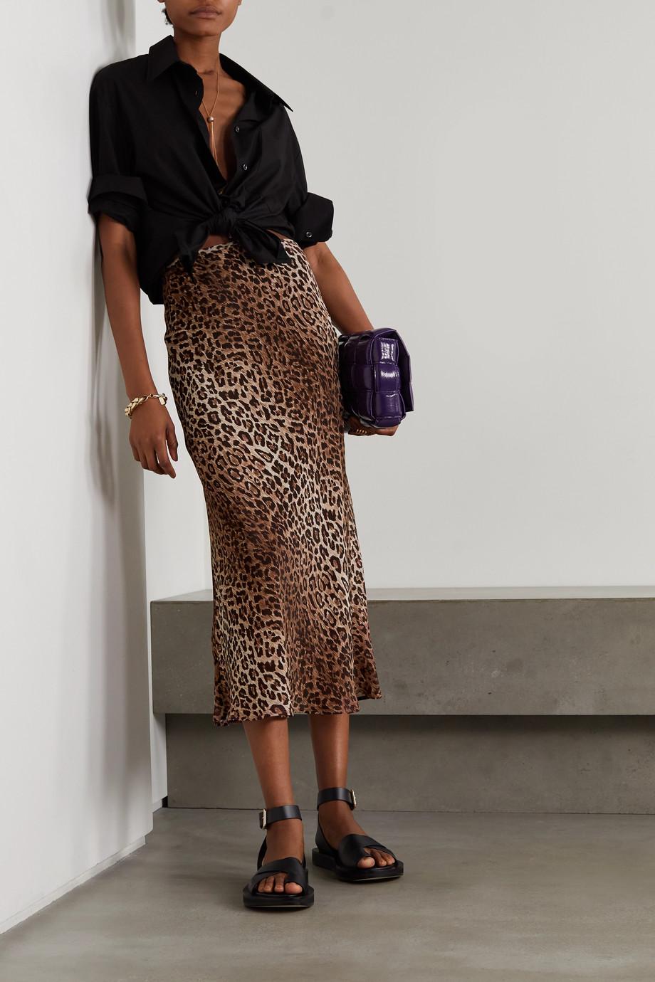RIXO Jupe midi en mousseline à imprimé léopard Kelly
