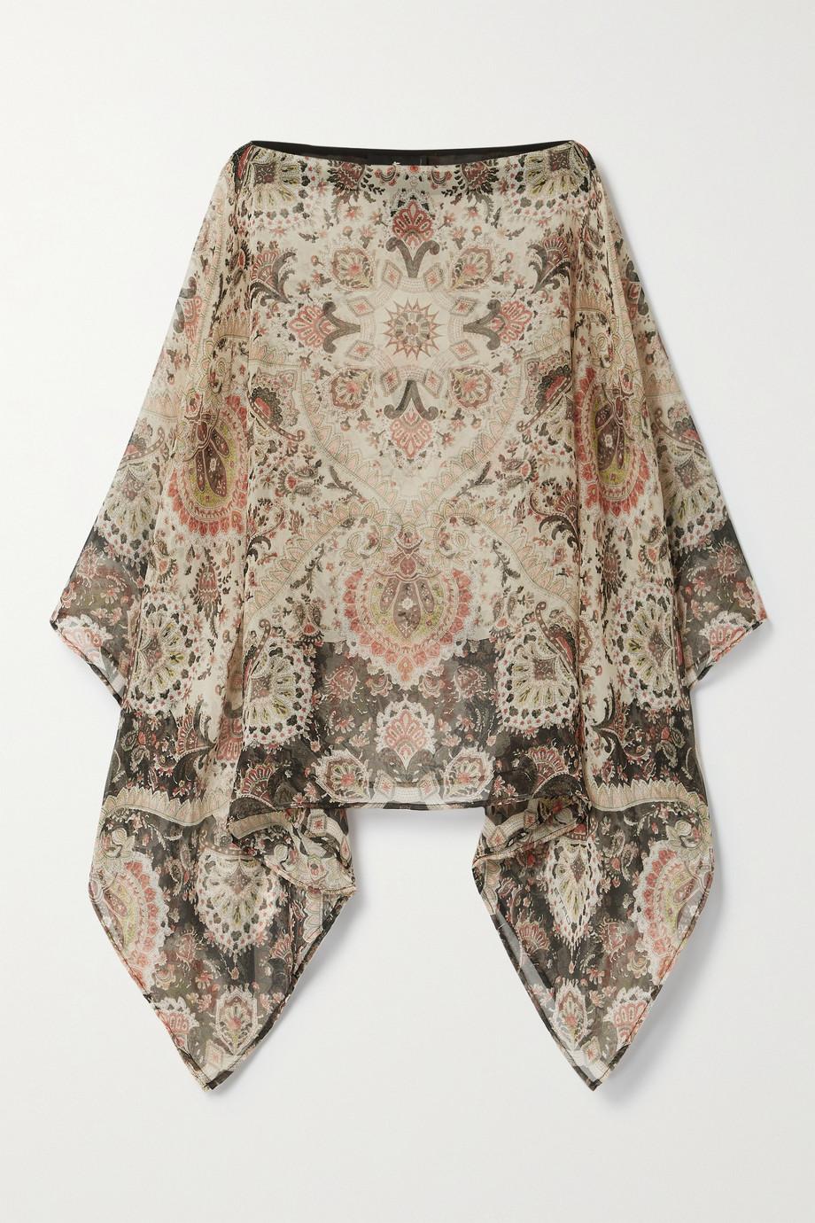Etro Paisley-print silk-georgette poncho