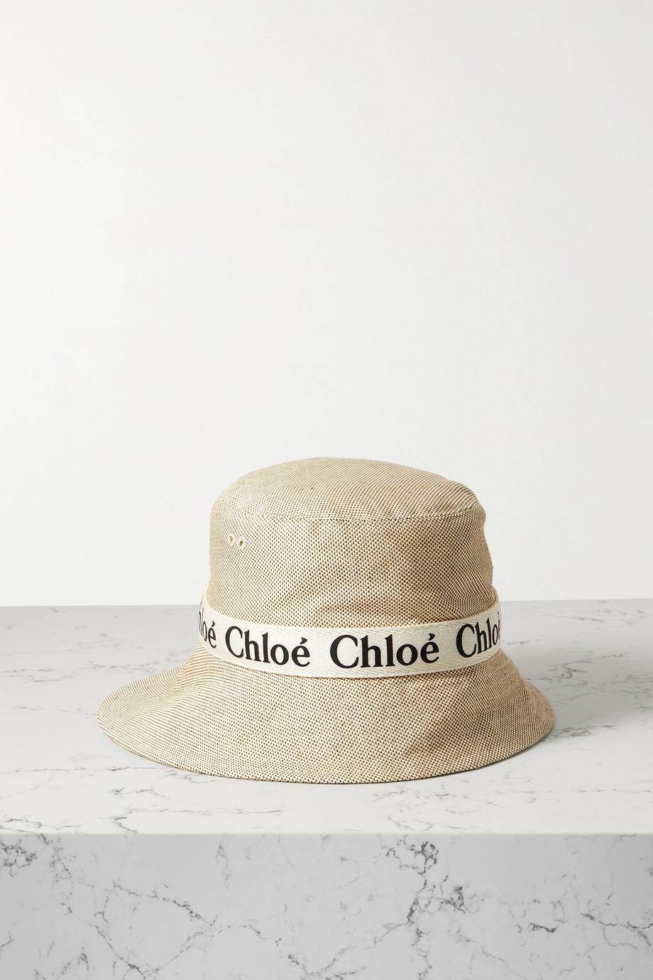 Chloé Fischerhut aus Baumwoll-Canvas mit Lederbesatz
