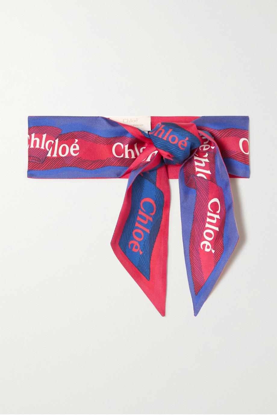 Chloé Printed silk-twill scarf