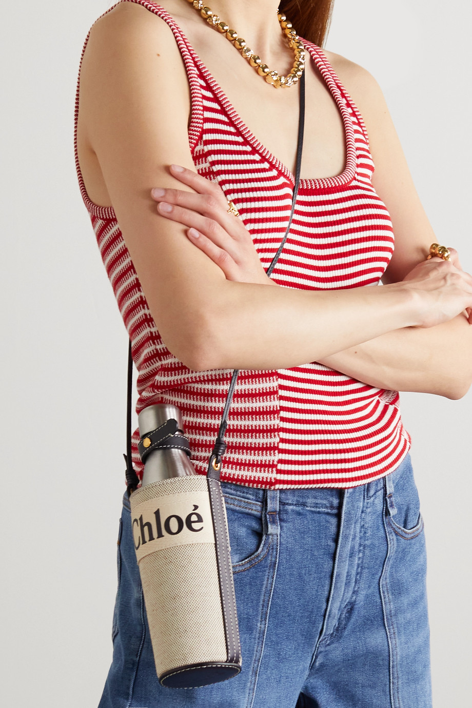 Chloé Fredy leather-trimmed printed cotton-canvas bag and bottle
