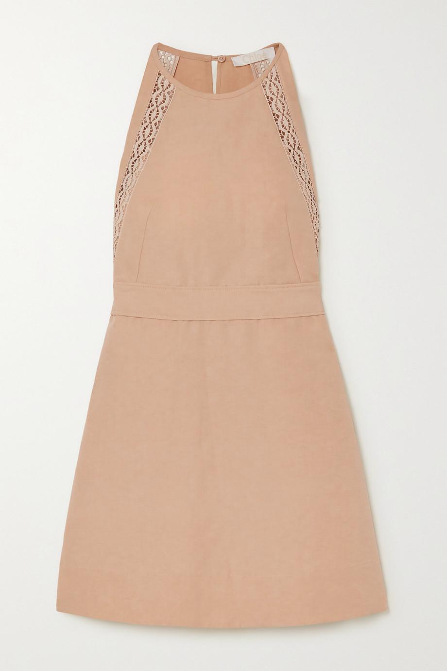 Chloé Mini-robe en lin et coton mélangés à dentelle