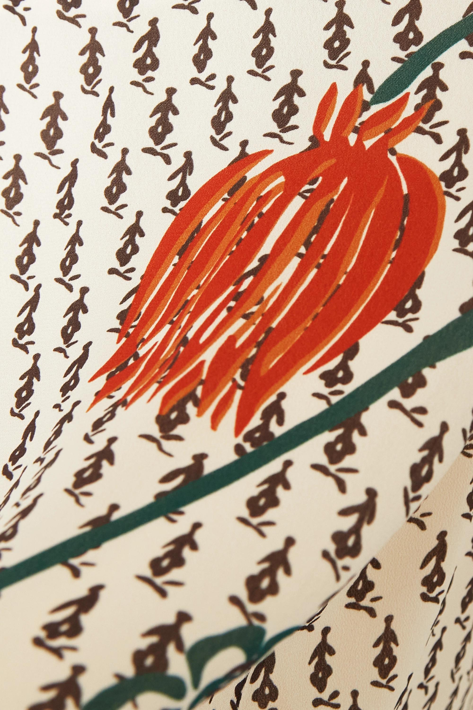 Chloé Midikleid aus Crêpe de Chine mit Blumenprint