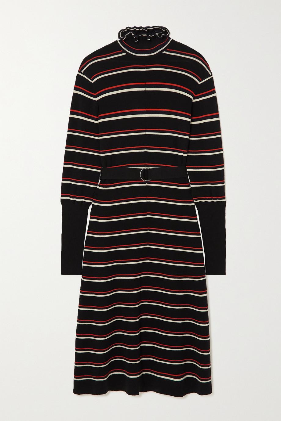 Chloé Robe midi en laine à rayures, à volants et à ceinture