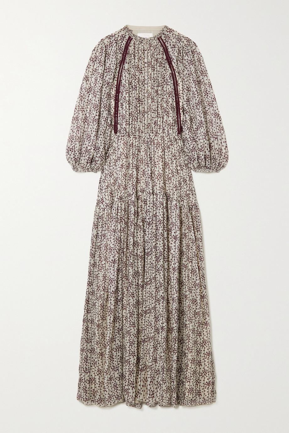 Chloé Pleated floral-print silk-georgette maxi dress