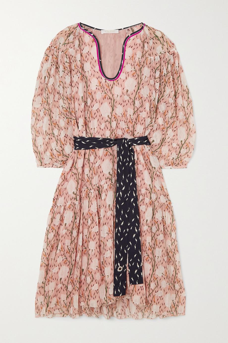 Chloé Robe en mousseline de coton et de soie mélangés à imprimé fleuri et à ceinture