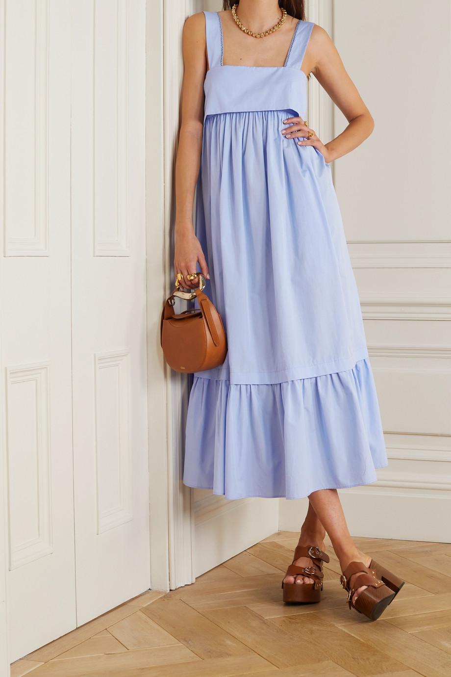 Chloé Tiered cotton-poplin midi dress