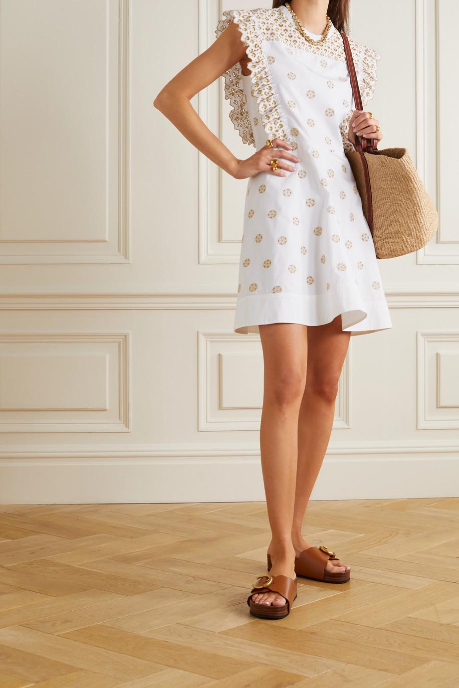 Chloé Ruffled broderie anglaise cotton-poplin mini dress
