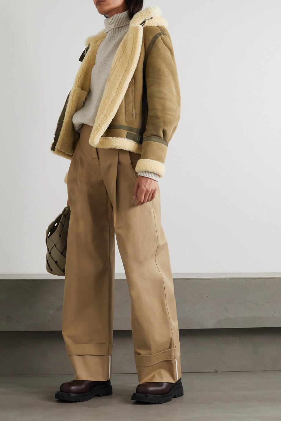 Chloé Veste à capuche en peau lainée à finitions en daim