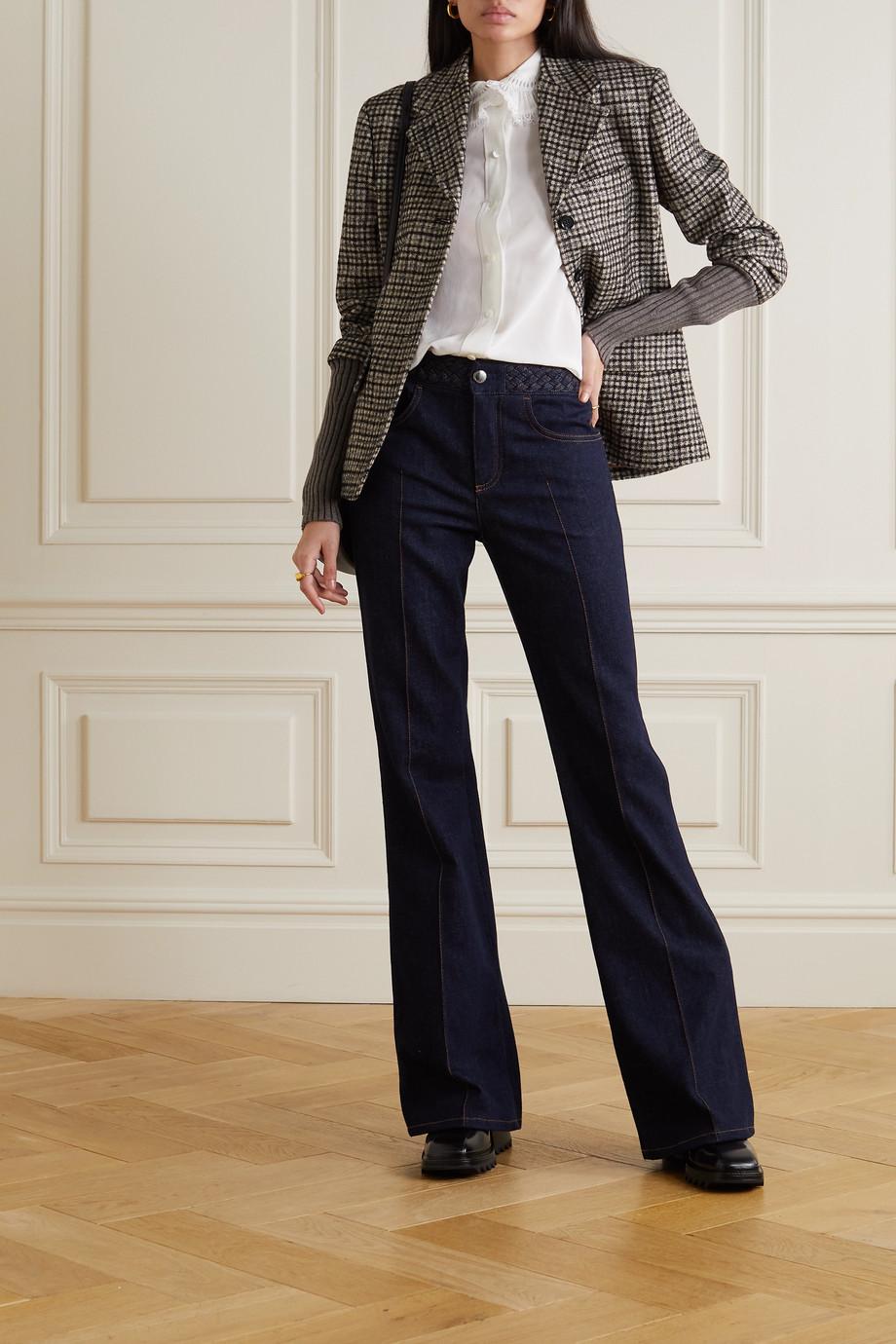 Chloé Jacke aus kariertem Tweed aus einer Wollmischung und Rippstrick