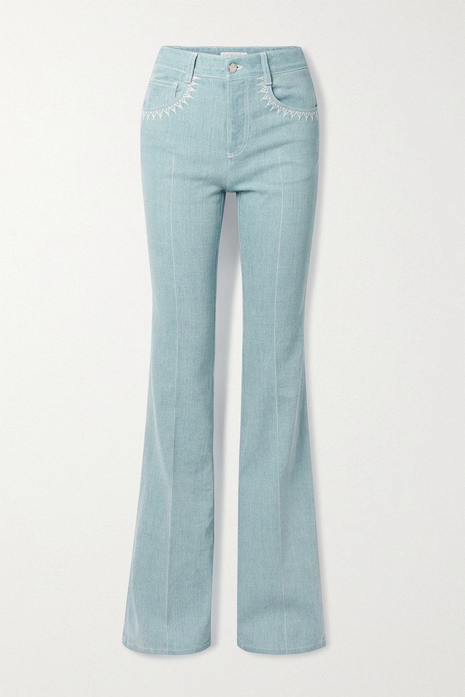 Chloé Embroidered high-rise flared jeans