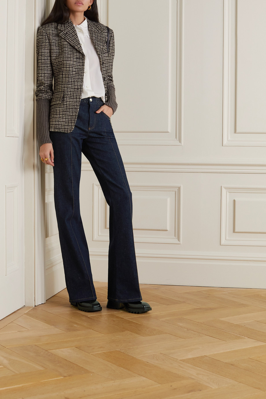 Chloé Braided high-rise flared jeans