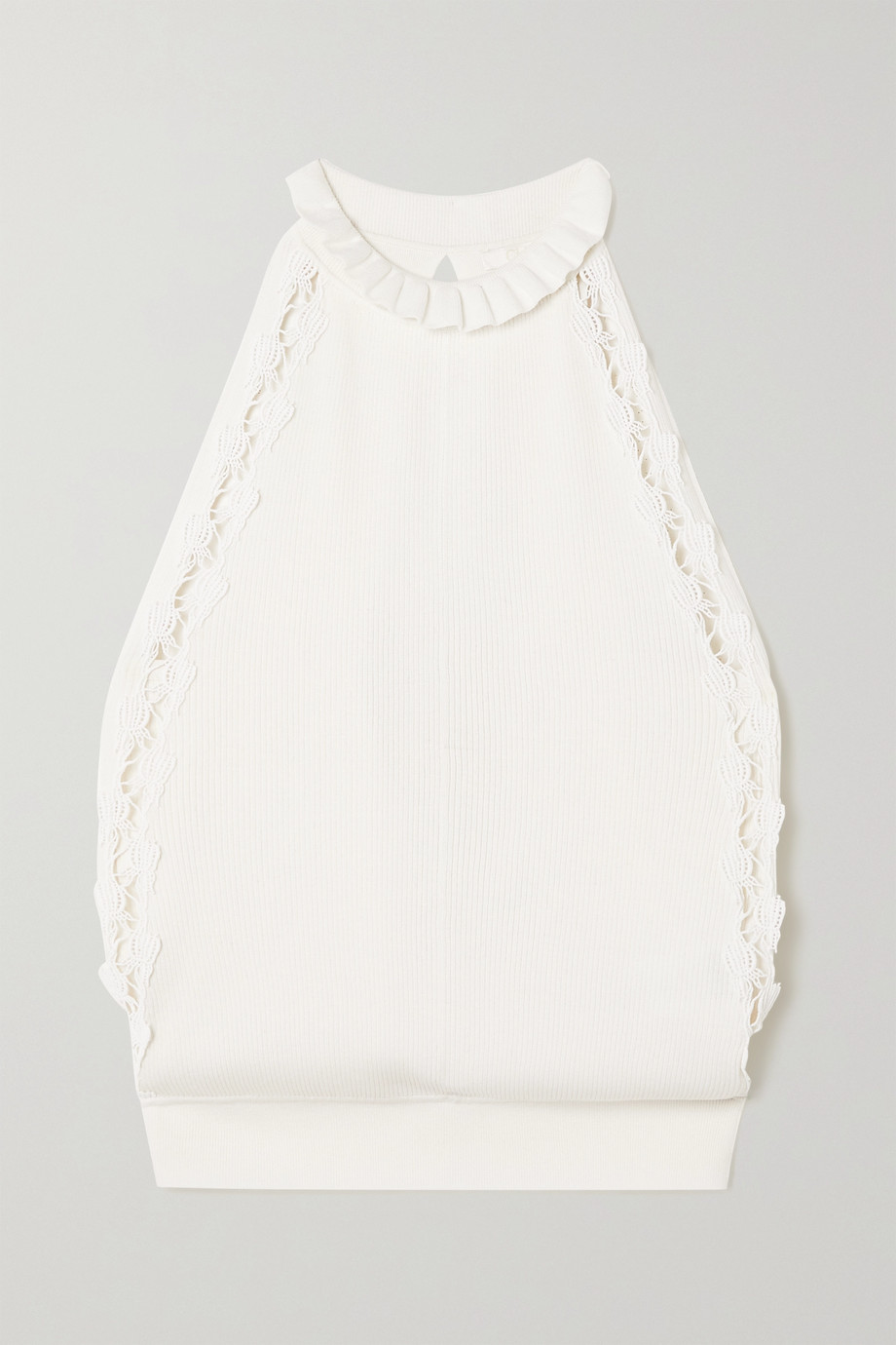 Chloé Guipure lace-trimmed ribbed silk and cotton-blend top