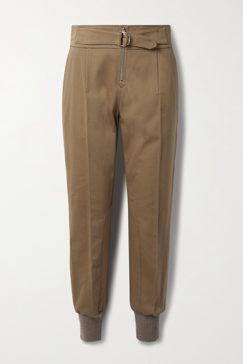 Chloé Belted cotton-drill tapered pants