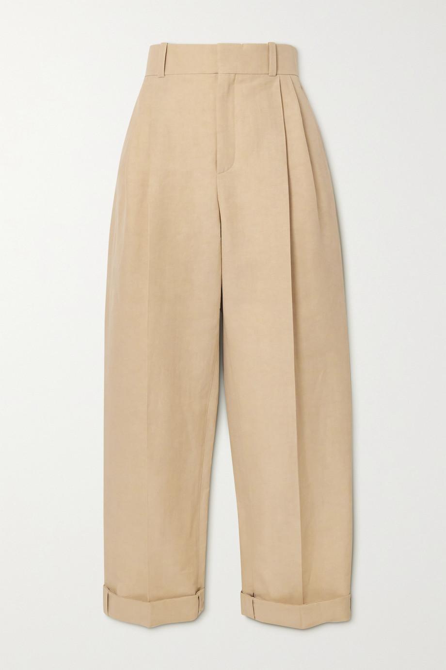 Chloé Pantalon raccourci fuselé en lin et coton mélangés