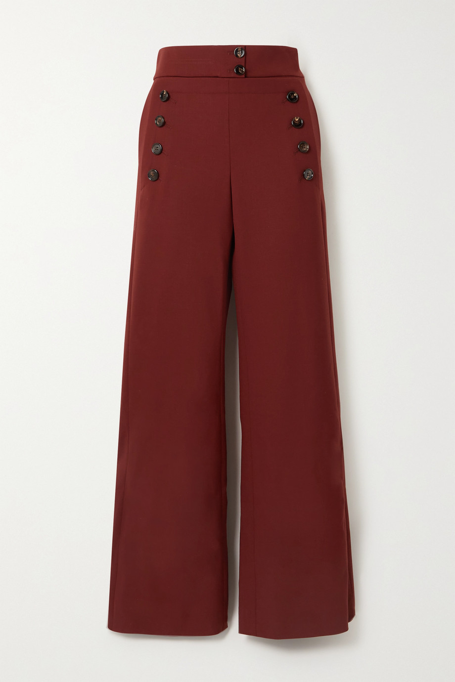 Chloé Pantalon large en laine stretch