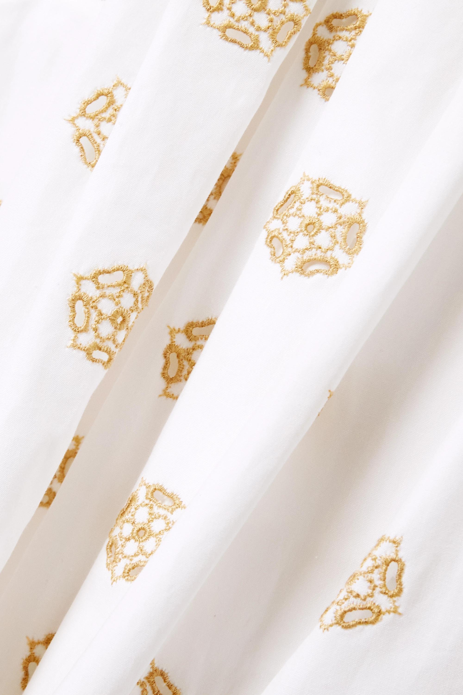 Chloé Pantalon large raccourci en popeline de coton à broderies