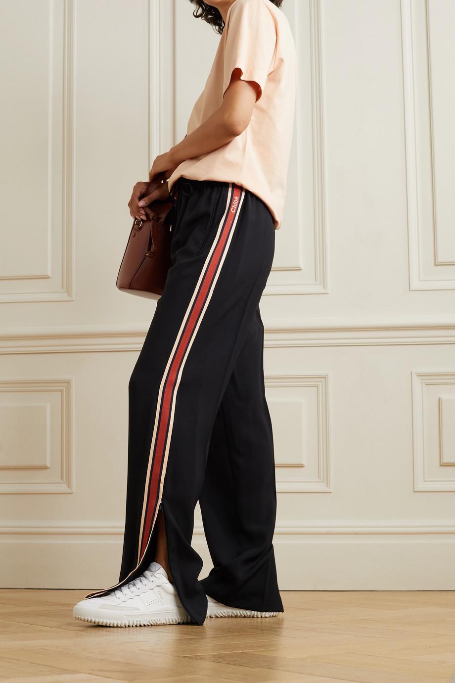 Chloé Jacquard-trimmed crepe track pants
