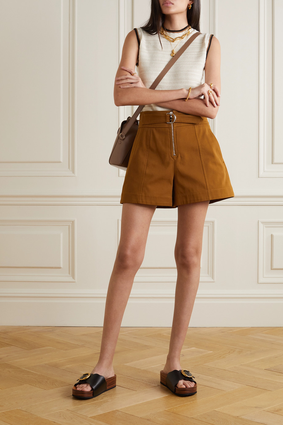 Chloé Belted cotton-drill shorts