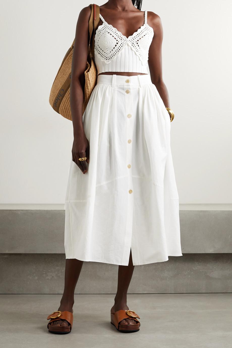 Chloé Jupe midi en lin et coton mélangés à plis