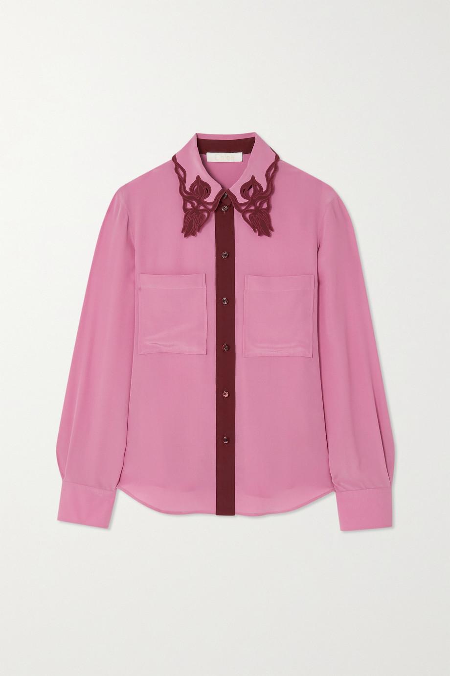 Chloé Embroidered cutout silk crepe de chine shirt