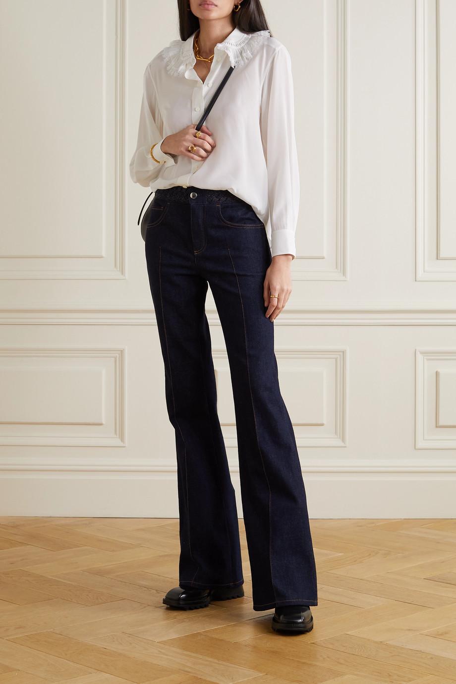 Chloé Lace-trimmed silk crepe de chine blouse