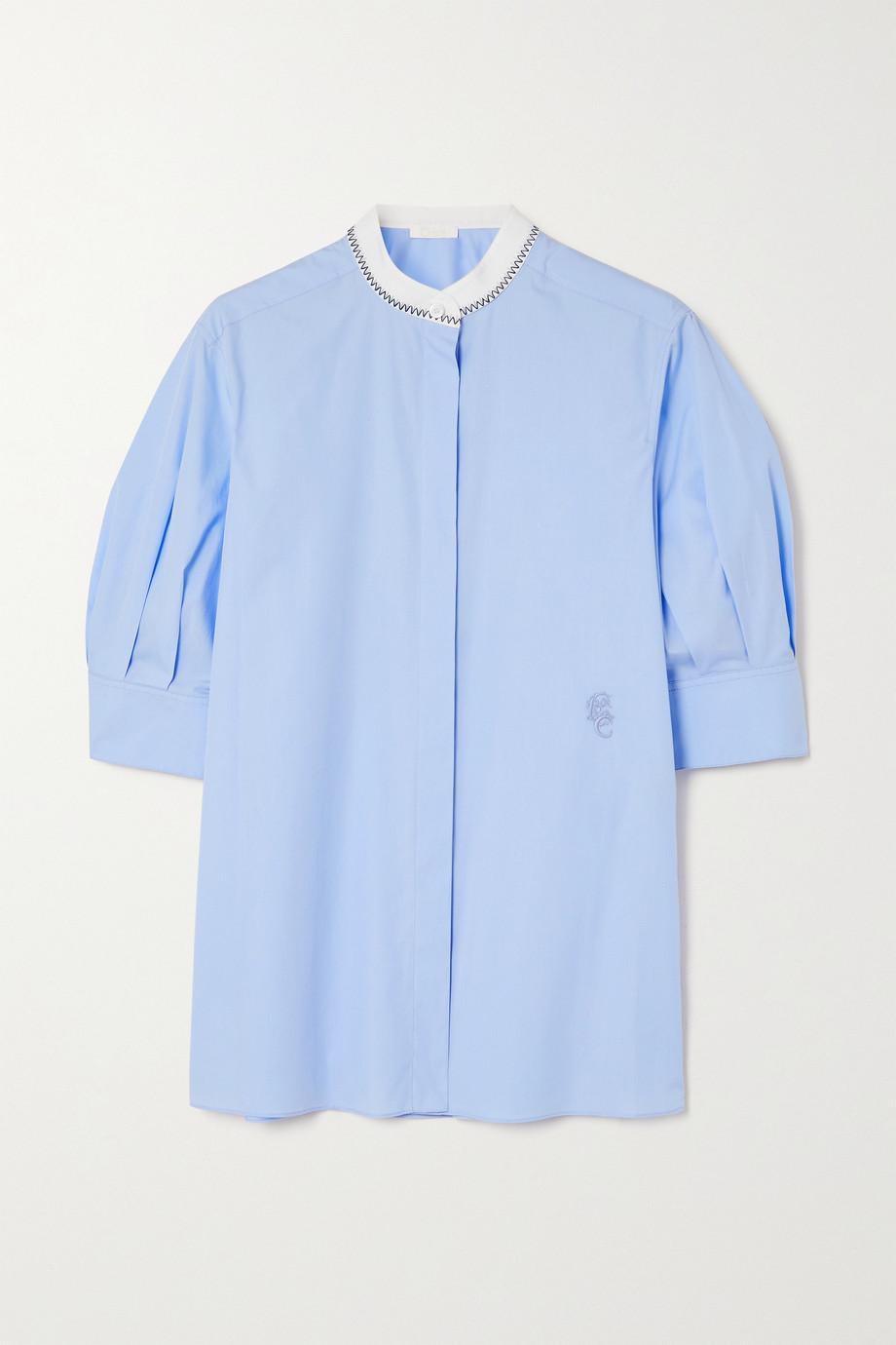 Chloé Embroidered cotton-poplin blouse
