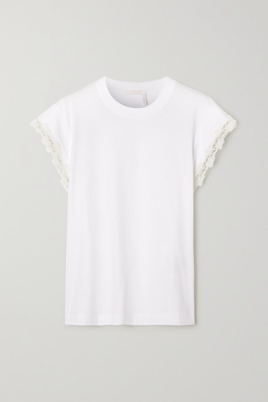 Chloé Guipure lace-trimmed cotton-jersey top