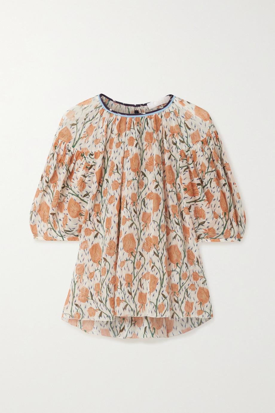 Chloé Floral-print cotton and silk-blend crepon blouse