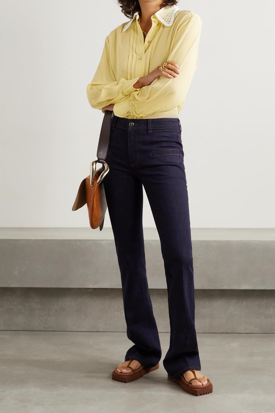 Chloé Crochet-trimmed georgette blouse