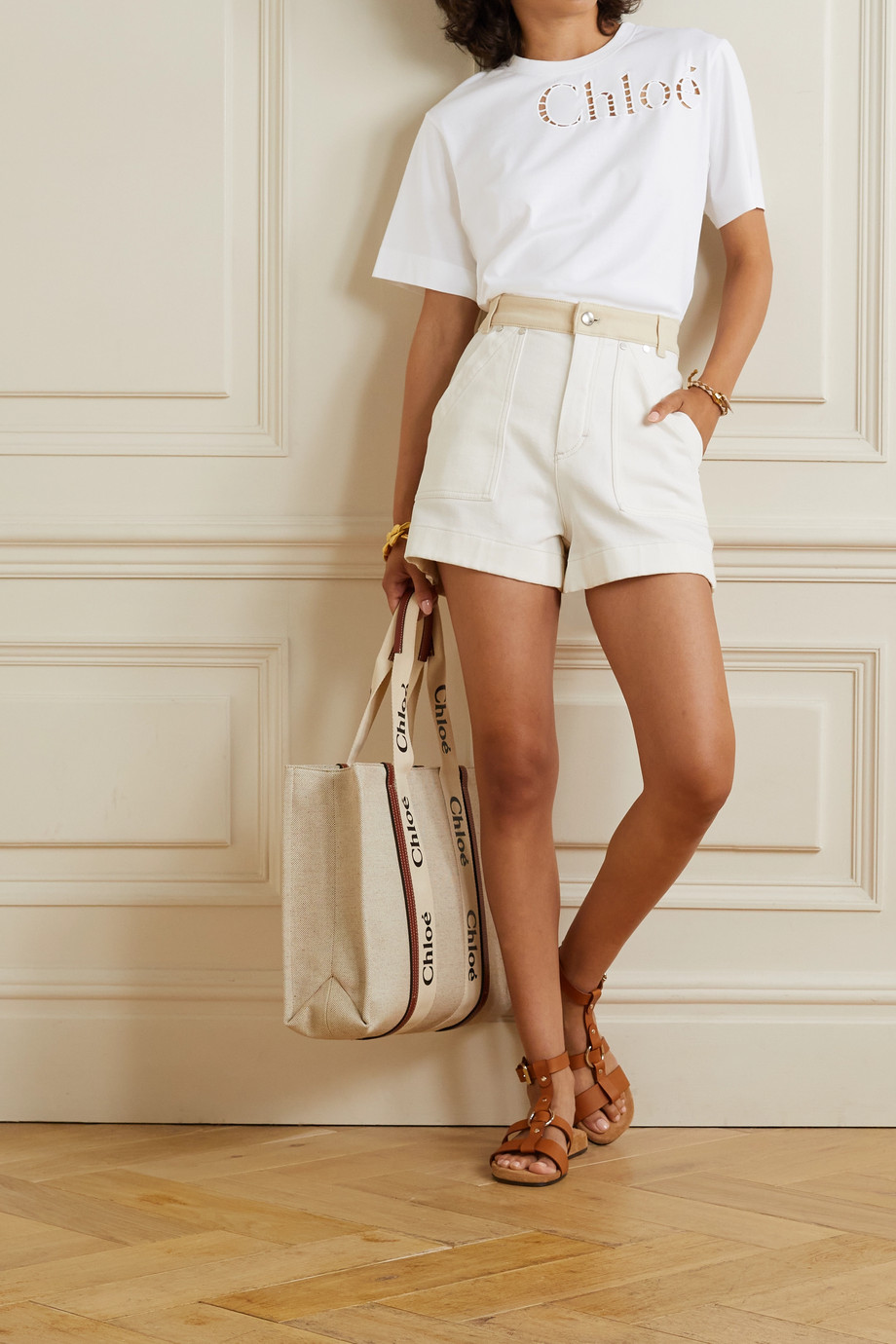 Chloé Broderie anglaise-trimmed cotton-jersey T-shirt