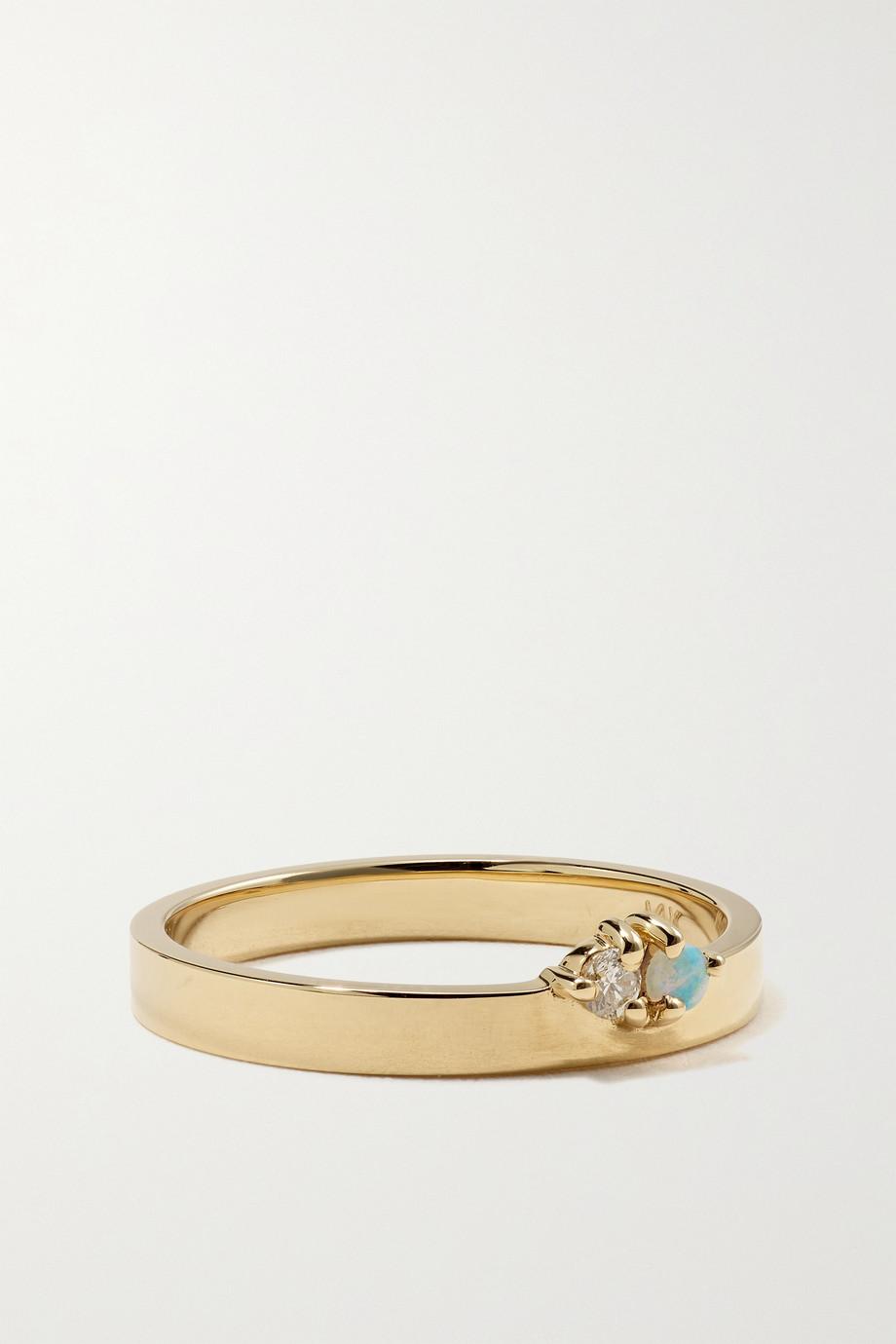 Wwake Overton 14-karat gold, diamond and opal ring