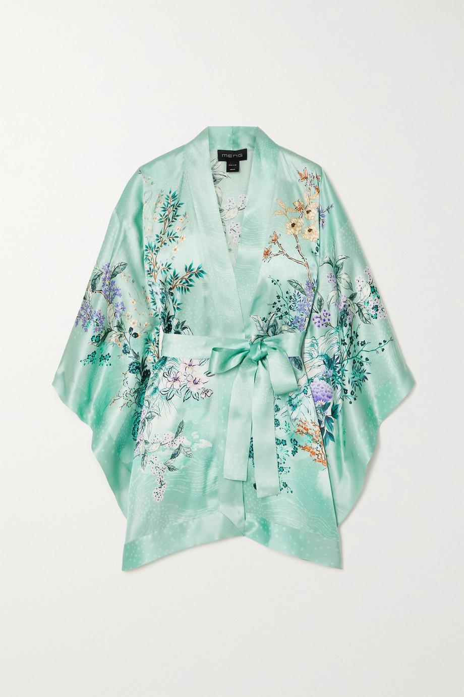 MENG Kimono en satin de soie à imprimé fleuri