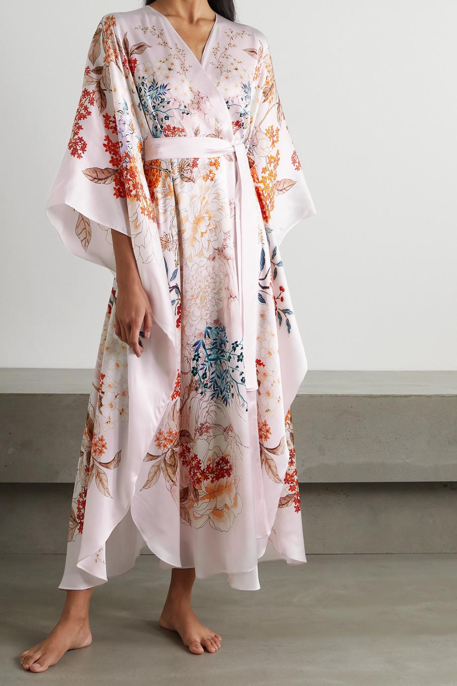 MENG Peignoir en satin de soie à imprimé fleuri et à ceinture