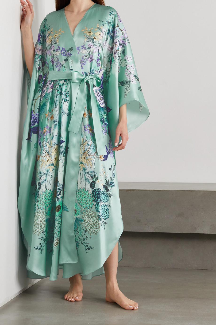 MENG Kimono en satin de soie à imprimé fleuri et à ceinture