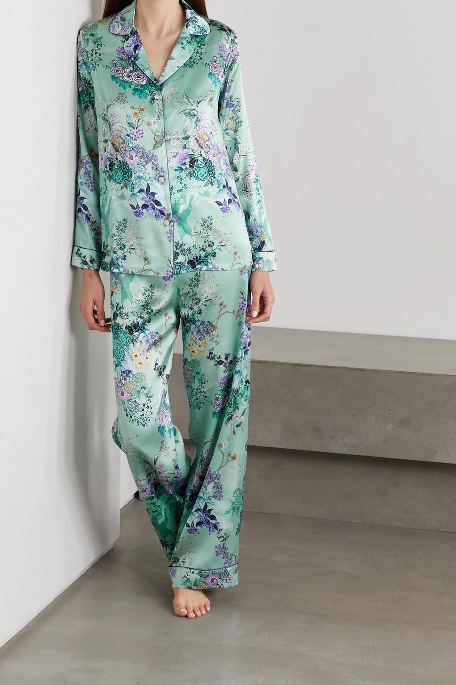 MENG Pyjama aus Seidensatin mit Blumenprint