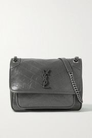 SAINT LAURENT Niki medium crinkled glossed-leather shoulder bag