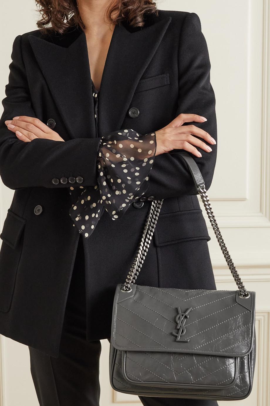 SAINT LAURENT Niki medium crinkled glossed-leather shoulder bag