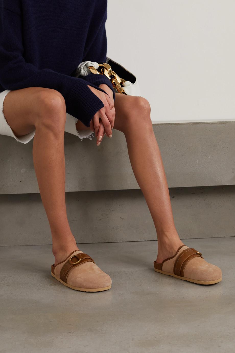 See By Chloé Gema Slippers aus Veloursleder mit Lederbesätzen und Verzierung
