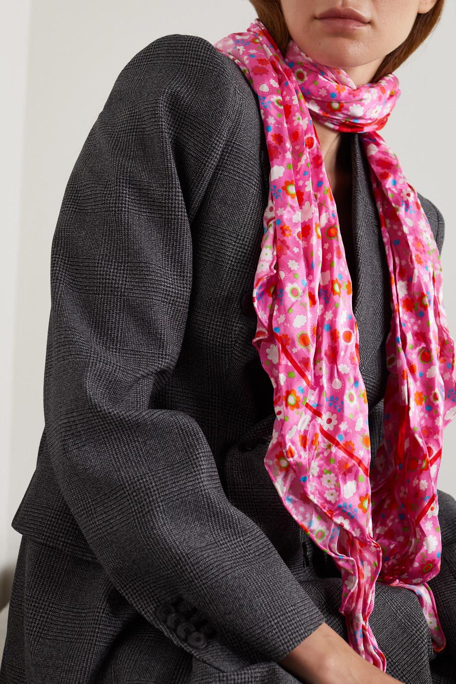 Balenciaga Printed crinkled-silk scarf