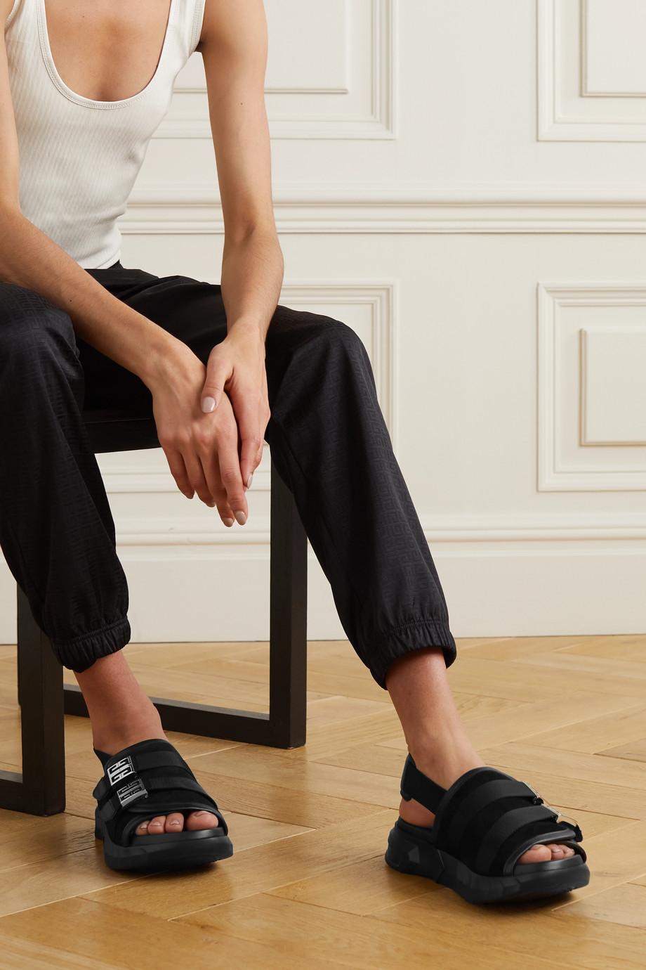 Givenchy Sandales en daim, en toile et en cuir à logo Marshmallow