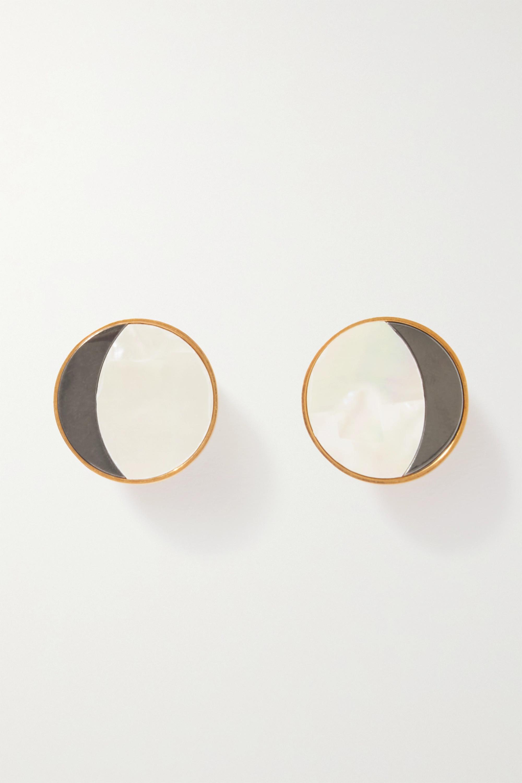 Loewe Boucles d'oreilles clip en métal doré et nacre Eclipse
