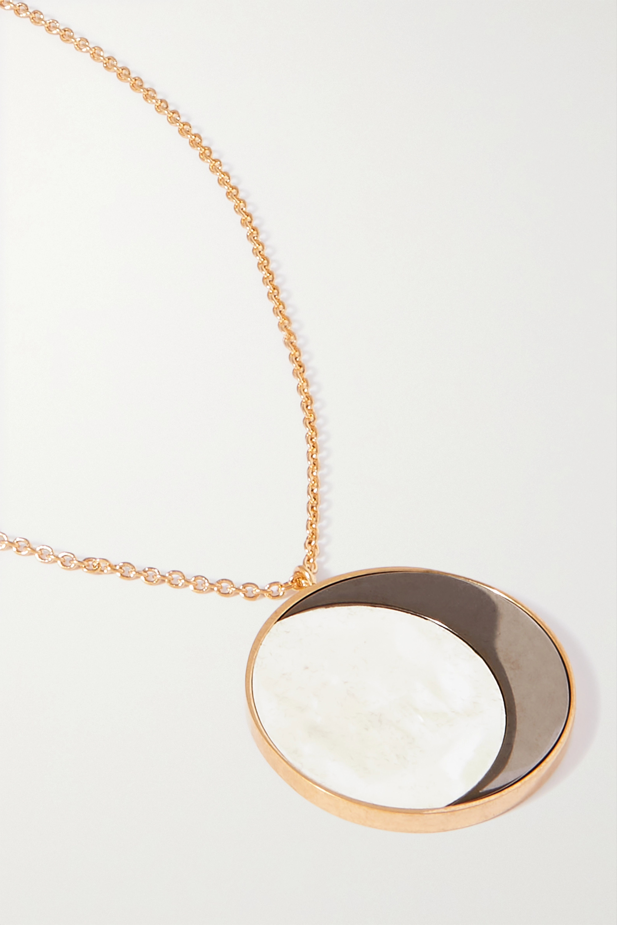 Loewe Ellipse gold-tone, acrylic and mother-of-pearl necklace
