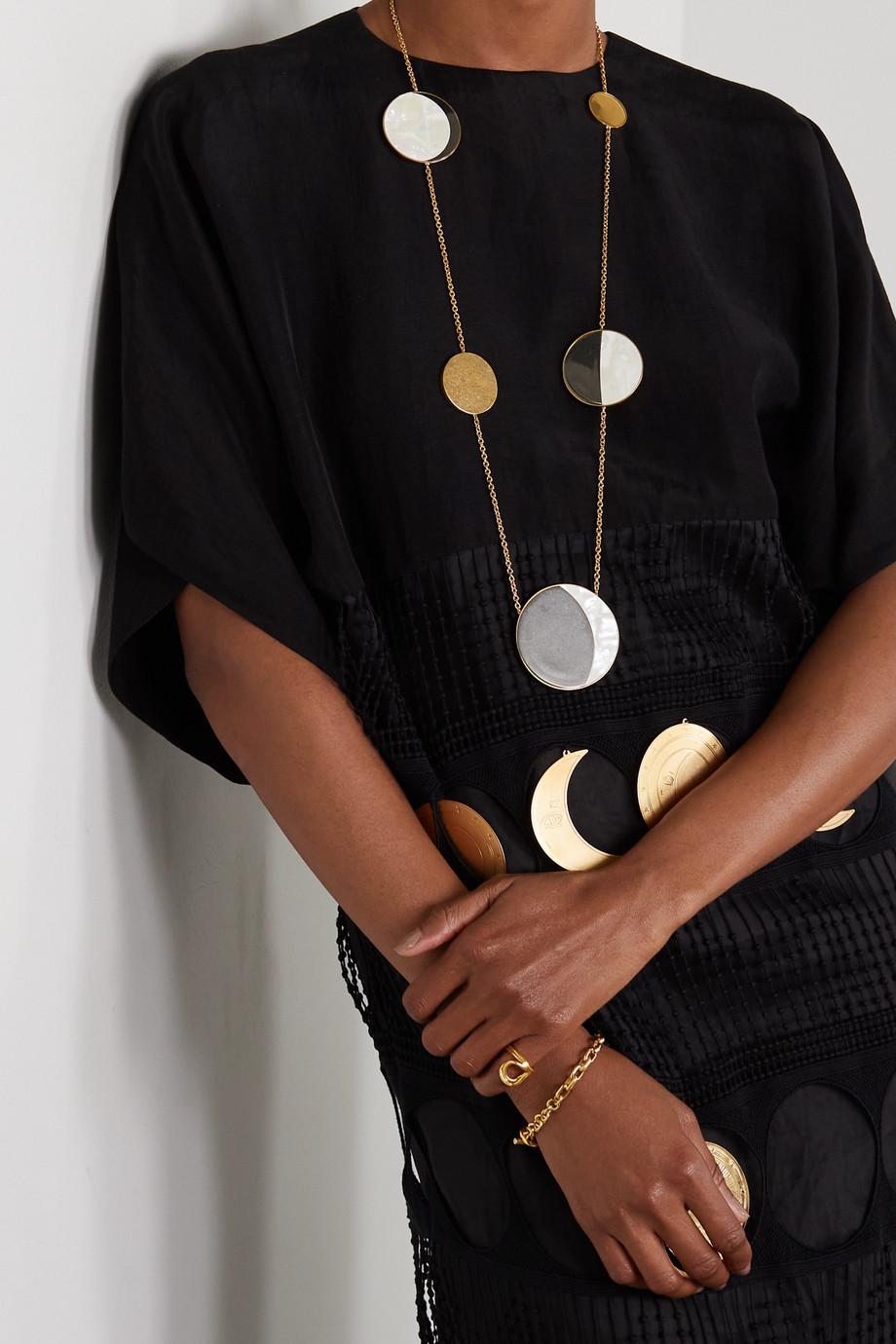 Loewe + Paula's Ibiza Ellipse gold-tone, acrylic and mother-of-pearl necklace