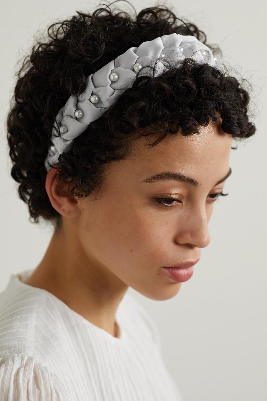 Eugenia Kim Serre-tête en satin tressé à perles synthétiques Stella